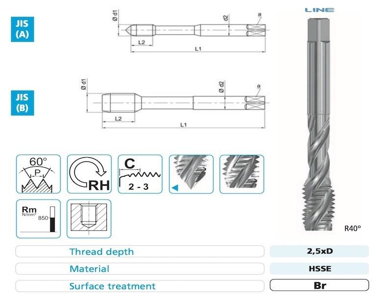 E60M Spiral Flute Taps - JIS