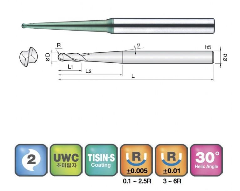 2JJTB - 2 Flutes Neck Ball End Mills