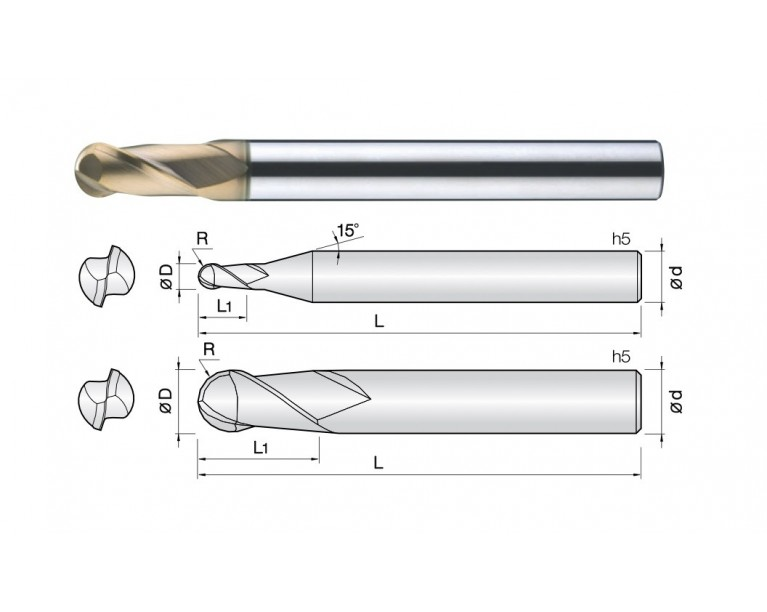 2HCB - 2 Flutes High Speed Standard Length Ball End Mills