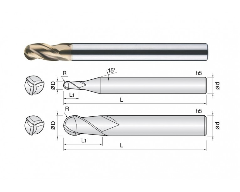 3HCB - 3 Flutes High Speed Standard Length Ball End Mills
