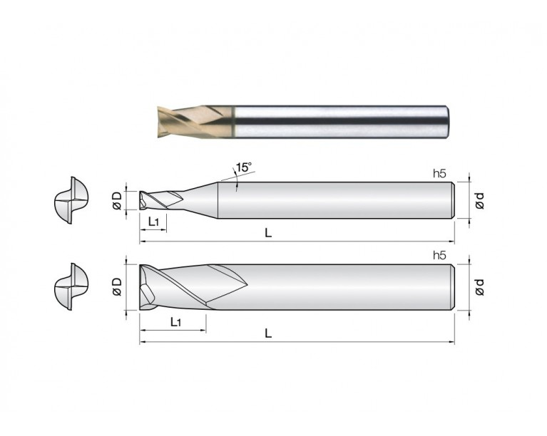 2HSE - 2 Flutes High Speed Short Length End Mills