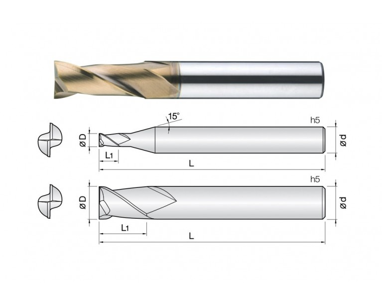 2HCE - 2 Flutes High Speed Standard Length End Mills