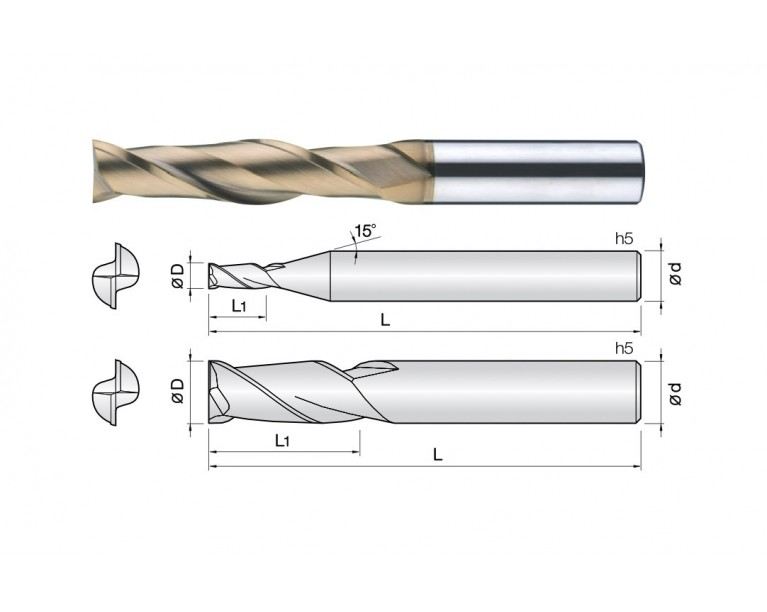 2LEM - 2 Flutes Long Length End Mills