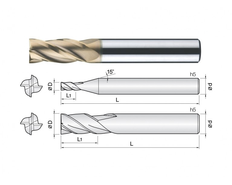 4HCE - 4 Flutes High Speed Standard Length End Mills