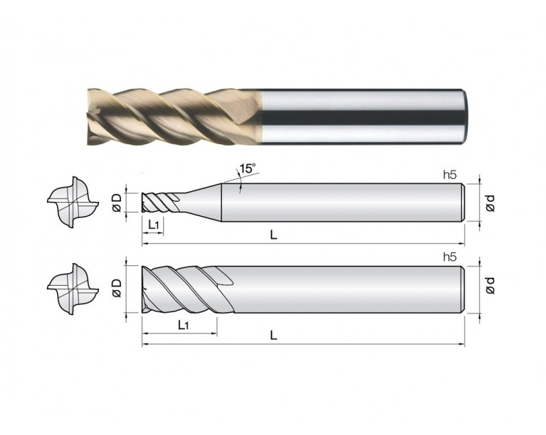 4HEM - 4 Flutes High Speed 45° Helix End Mills