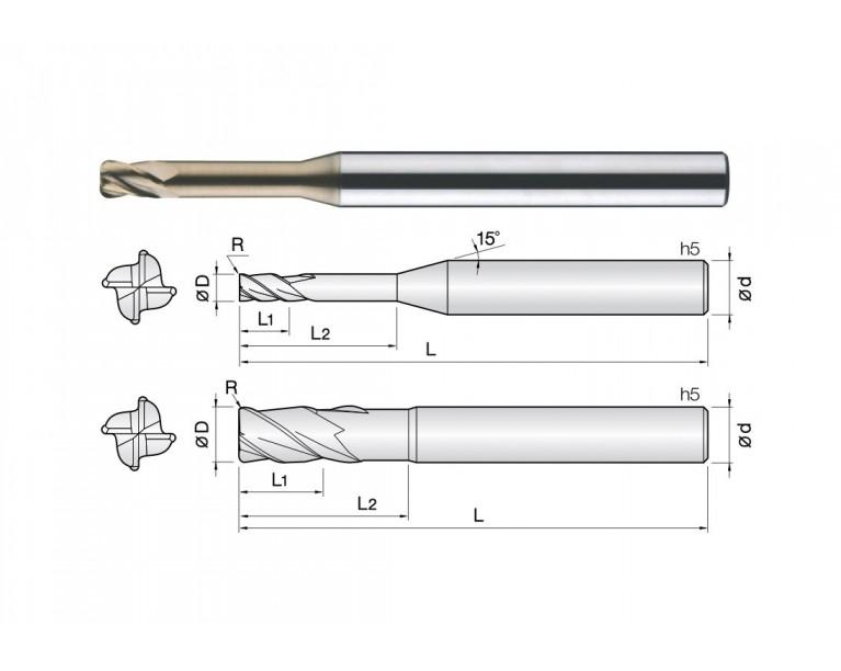 4CRE - 4 Flutes Rib Corner Radius End Mills