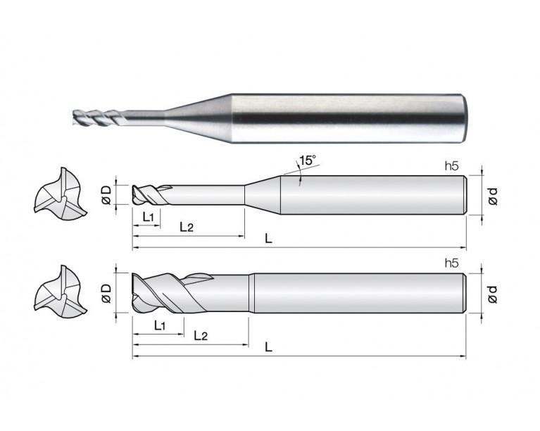 3ALR - 3 Flutes 45° Helix Rib End Mills