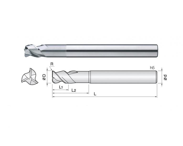 3ALC - 3 Flutes 45° Helix Corner Radius End Mills