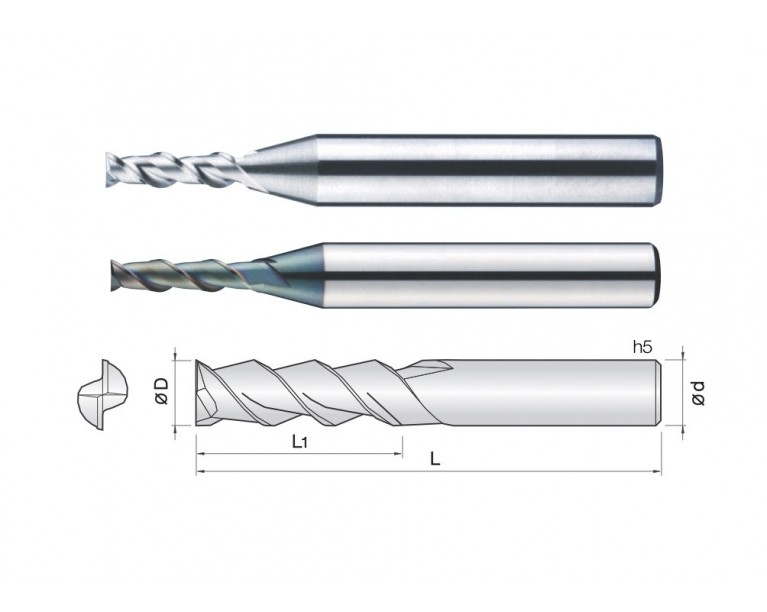 2ALEC - 2 Flutes 45° Helix End Mills (TaC Coating)