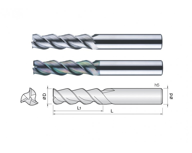 3ALEC - 3 Flutes 45° Helix End Mills (TaC Coating)