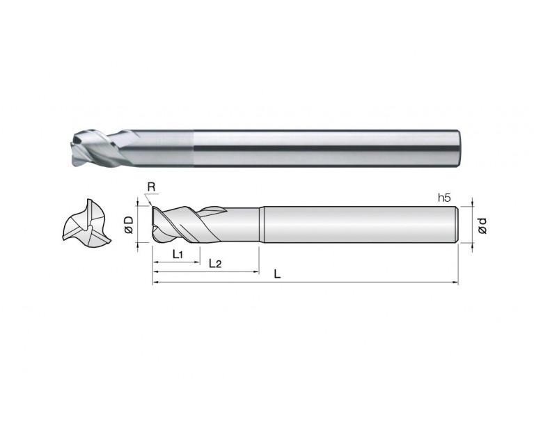3ALCC - 3 Flutes 45° Helix Corner Radius End Mills (TaC coating)
