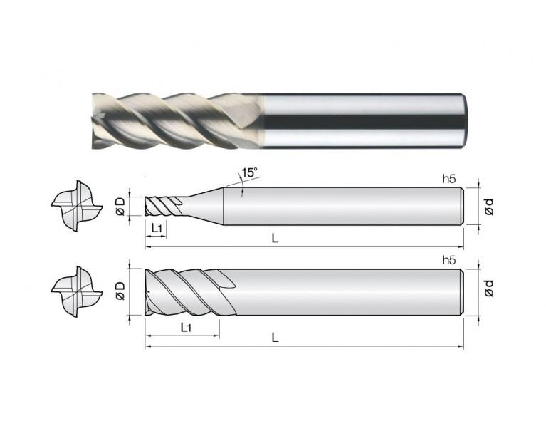 4HEMG - 4 Flutes 45° Helix End Mills
